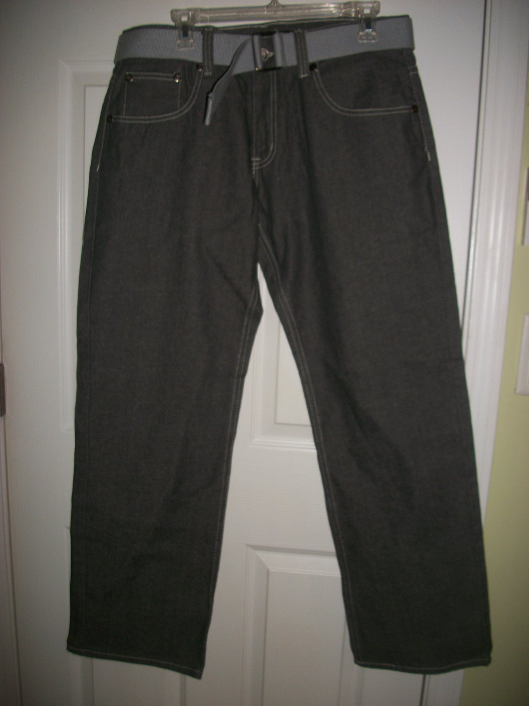 Old Skool Teen Boy Man Gray Belted Denim Jeans Size 34