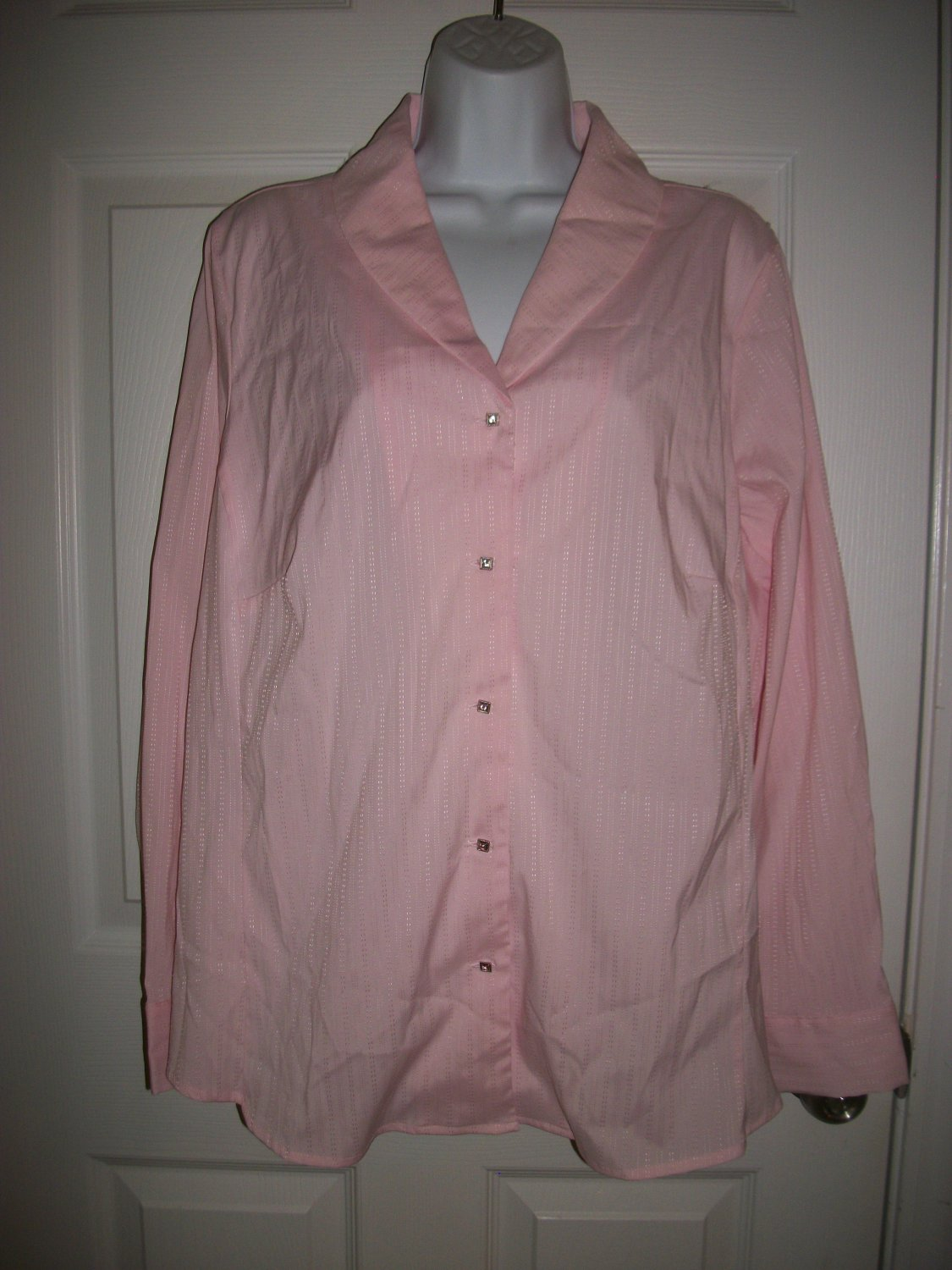 Avenue Women's Pink Classic Fit Long Sleeed Shirt Size 18 /20