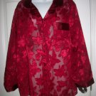 Secret Treasures Women's Red Floral Sheer Shirt Sleep Top Size L