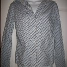 New York & Company Citystretch Women's Blue & White Striped Shirt Size XS