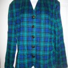 Leslie Fay Women's Vintage Blue & Green Plaid Jacket Blazer Size 16