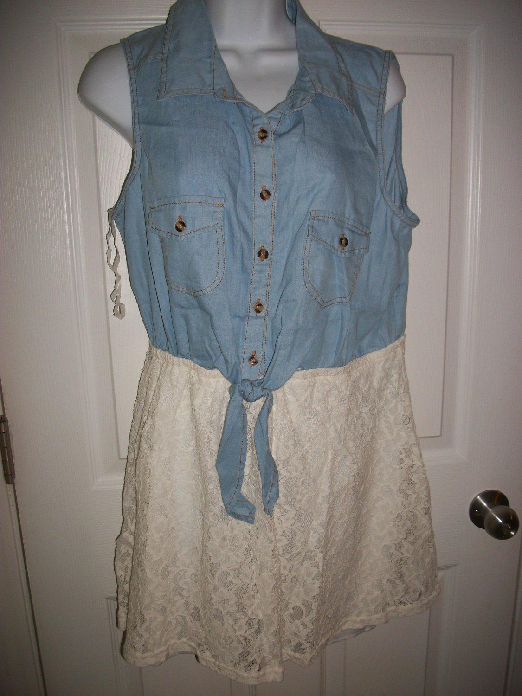 Rue 21 Junior's Blue Denim & White Lace Sleeveless Dress Size XL