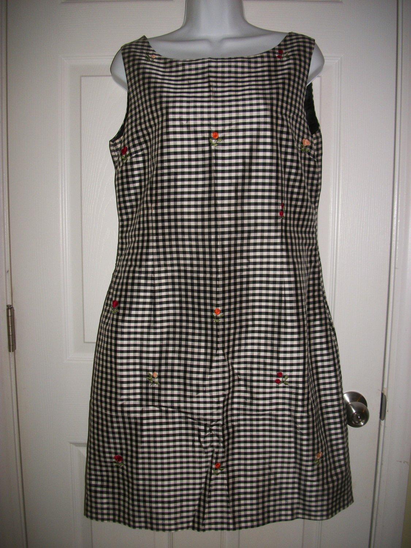 Appraisal Women's Black & White Plaid Silk Lined Sleeveless Dress Size 12