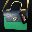 Vintage 70s brand new mundi kelly lizard grain purse handbag green blue yellow