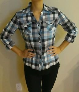 Cello squares womens long sleeve flannel blouse top shirt Size S