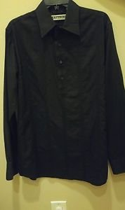 Express popover 3 buttons mens long sleeve shirt black size M