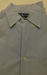 Ralph lauren long sleeve mens dress shirt blue 100% cotton size M