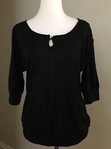 Lena womens buttons down shirt top medium sleeve size M black