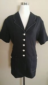 Vintage first option womens button down shirt blouse top size 18 black