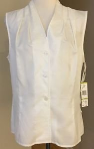 Jones New York collection womens blouse top off shoulders size 14 White