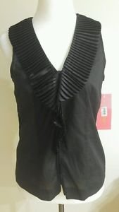 NWT Sunny leigh womens top blouse buttom down shirt black size S tag price 64