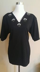 Vintage inter womens embroidered blouse top size L black