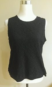 Impressions womens tank top blouse size L black