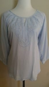 Basement basic womens blouse top embroidered size 40 blue