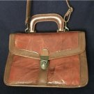vintage womens leather briefcase handbag satchel brown