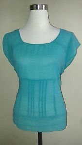 Susan miller womens blouse top size 10 turquoise