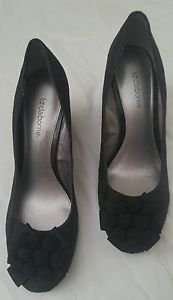 Liz claiborne zail fabric womens shoes heel wedding prom bridal size 7.5 M black