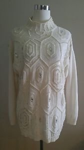 Victoria jones womens embellished sweater size L ivory