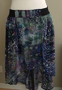 No Boundaries asymmetrical womens skirt size L/G multicolor