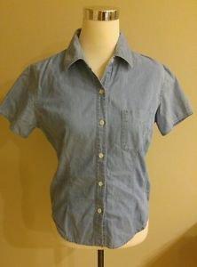 Fast pace women soft jean blouse top shirt size 10 blue