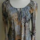 Olivia paige womens blouse top paisley size M long sleeve