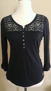 Hollister womens long sleeve shirt top size s black
