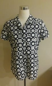 Liz claiborne women blouse top size M black & white