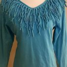 Barnett womens top blouse long sleeve size L turquoise