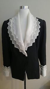 Vintage made by a tailor womens blazer size L black 1-015