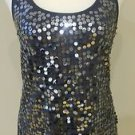 Buckle womens top tank sequin embellished size M black