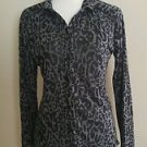 Eyelash couture womens blouse top button down size L black gray