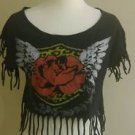 Hybrid apparel womens graphic tee top t-shirt size S black