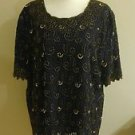 Vintages 80s candlelight champagne womens embellished blouse top size 2X black