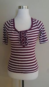 Old navy womens tee t-shirt top size XS striped white & purple