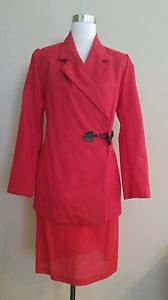 Made by a tailor womens skirt suit set size 6 red 1-028