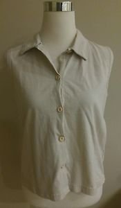 Cherokee womens button down shirt top size M beige