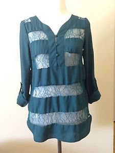 Mossimo womens top blouse size XS green
