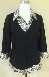 Style & co womens sweater with bluose top size XL