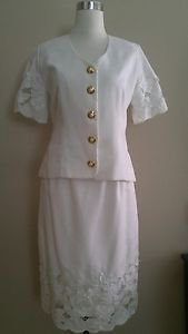 Made by a tailor womens skirt suit set size M ivory 1-029
