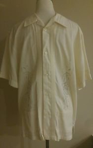 Guayabera shirt polo mens size L beige