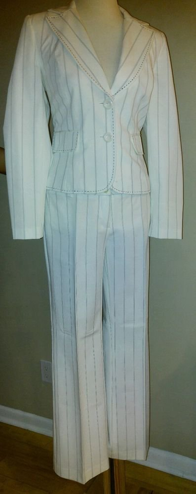 Focus 2000 womens pant suit set jacket & pant size 4 waist 30 ivory
