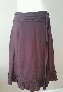 Odille anthropologie womens skirt brown knee length size 6 waist 30