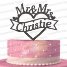 Mr & Mrs Heart Wedding Cake Topper Custom Personalized With Your Last Name (Multiple Color Optional)