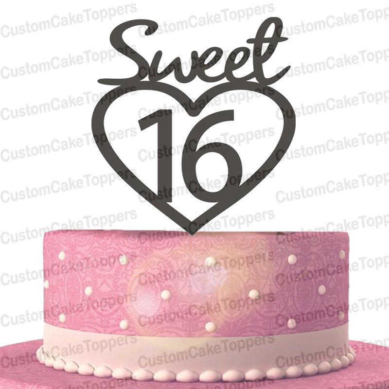 Sweet 16 Cake Topper,16th Birthday Cake Topper,Sweet Sixteen Birthday Girl Cake Topper
