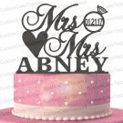 Mrs & Mrs Ring Cake Topper Custom Personalized with Your Last Name and Wedding Date