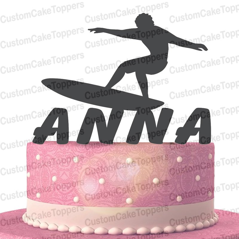 Surfing Cake Topper Personalised Custom with Your Last Name