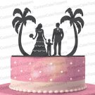 Family Silhouette Cake Toppers Couples with a Boys Under the Coconut Trees