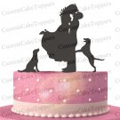 Wedding Cake Topper Bride and Groom Silhouette With Two Dogs