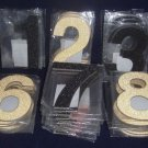 "Lot 108 New 5"" Glitter Number 0-9 ,Black & Gold,+4 Flocked 6"" Cloth, For Crafts"