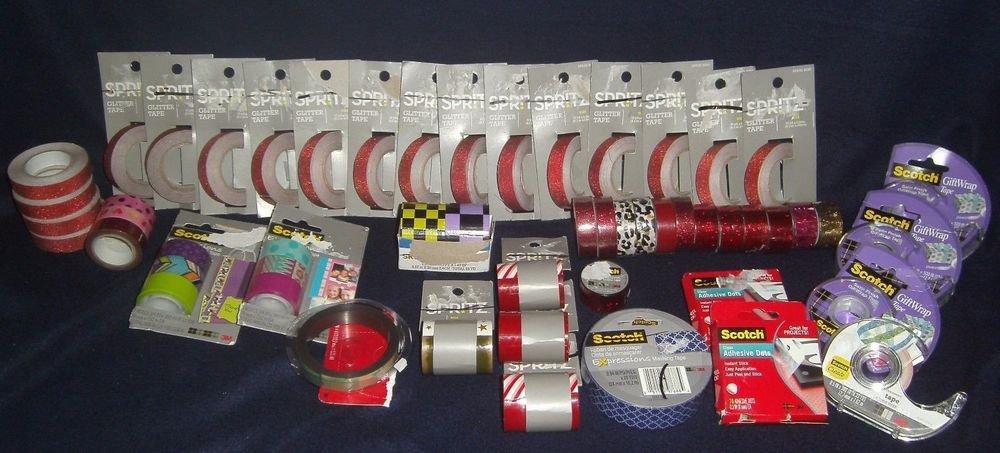 Huge Lot New (54 Rolls) Glitter-Designer-Magnet-Double Sided-Gift Birthday Tape